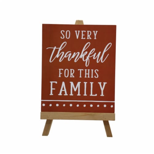 Holiday Home So Very Thankful Mini Easel Sign - Orange Perspective: front