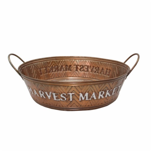 Holiday Home Metal Harvest Market Bucket - Copper Perspective: front