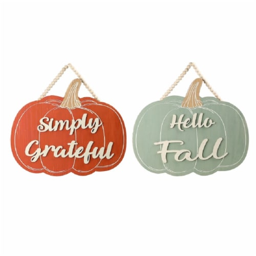 Holiday Home Pumpkin Wall Sign - Assorted Perspective: front