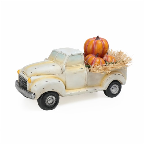 Holiday Home® Truck with Pumpkins Decor - Ivory/Orange Perspective: front