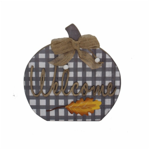 Holiday Home Welcome Plaid Pumpkin Sign - Gray Perspective: front