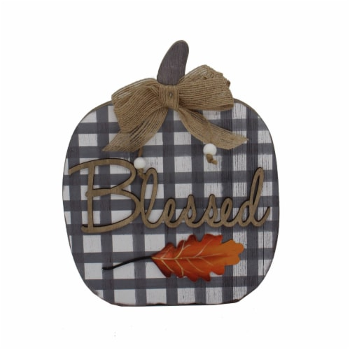 Holiday Home Blessed Plaid Pumpkin Sign - Gray Perspective: front