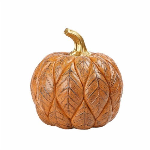 Holiday Home Pumpkin with Leaves Decor - Orange Perspective: front