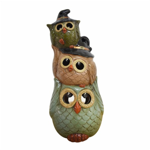 Holiday Home Triple-Stack Owl Garden Luminary Perspective: front