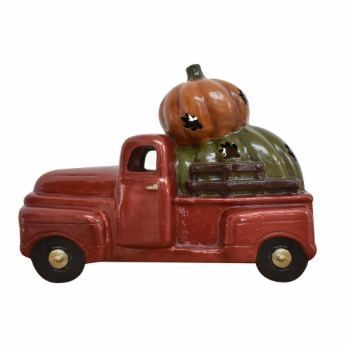 Holiday Home Truck Pumpkin Luminary Perspective: front
