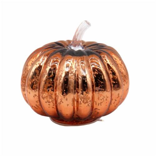 Holiday Home LED Glass Pumpkin - Harvest Orange Perspective: front