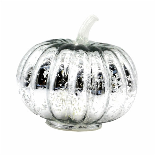 Holiday Home LED Glass Pumpkin - Silver Perspective: front