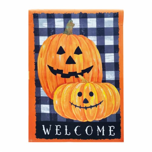 Holiday Home Welcome Jack O Lanterns Flag Perspective: front