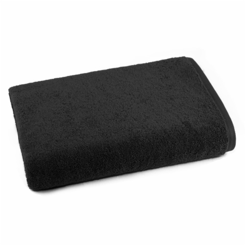 Dip Solid Bath Towel - Jet Black Perspective: front