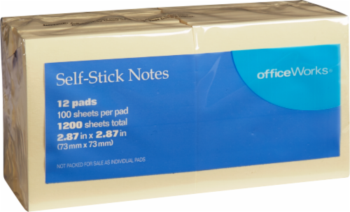 Office Works® Self-Stick Notes - 100 Sheets - 12 Pack - Yellow Perspective: front