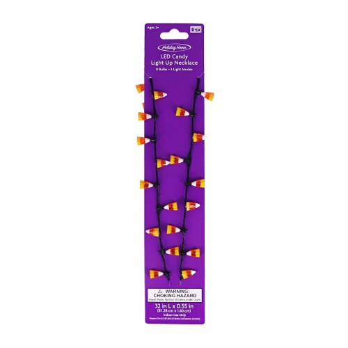 Holiday Home® LED Light Up Candy Corn Necklace Perspective: front