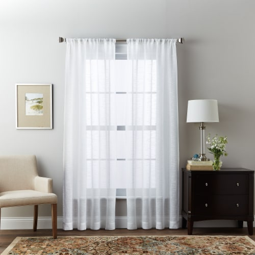 HD Designs Sheer Lynette White Panel Curtain Perspective: front