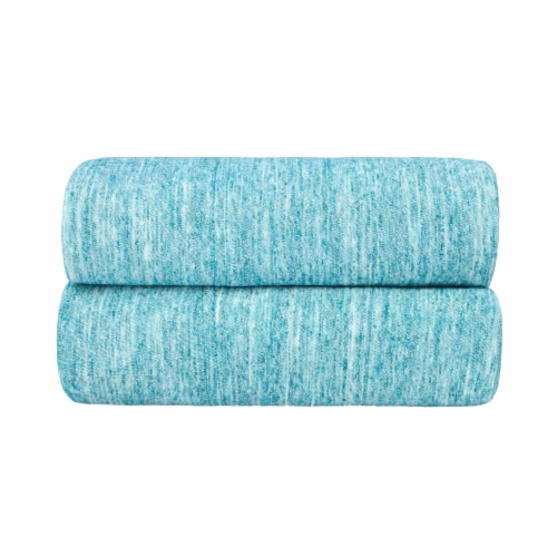 Everyday Living Jersey Pillowcase Set - Spacedye Turquoise Perspective: front