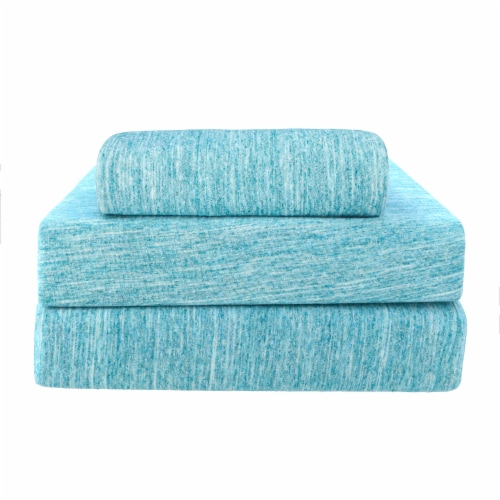 Everyday Living Jersey Sheet Set - 3 Piece - Spacedye Turquoise Perspective: front