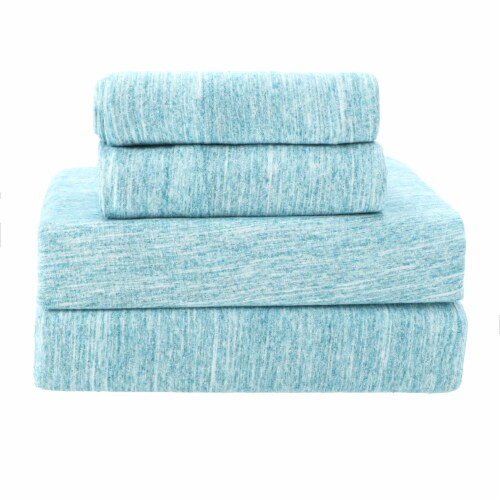 Everyday Living Jersey Sheet Set – Spacedye Turquoise Perspective: front