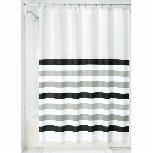 HD Designs Multi Stripe Shower Curtain - White / Gray Perspective: front