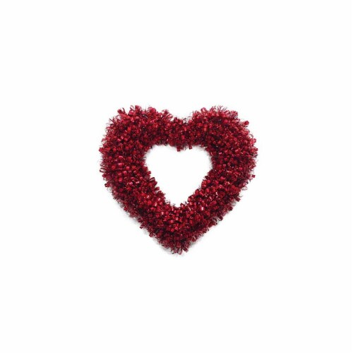 Holiday Home Curly Heart Wreath - Red Perspective: front