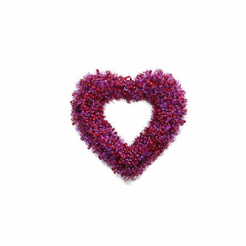 Holiday Home Curly Heart Wreath - Red/Pink Perspective: front