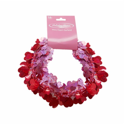 Holiday Home® Wire Heart Garland - Red/Pink Perspective: front