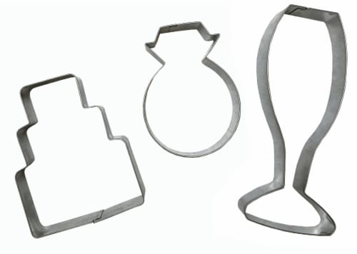 Dash of That™ Wedding Cookie Cutter Set - Silver Perspective: front