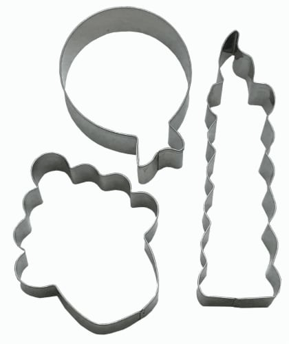 Dash of That Birthday Cookie Cutter Set - SIlver Perspective: front