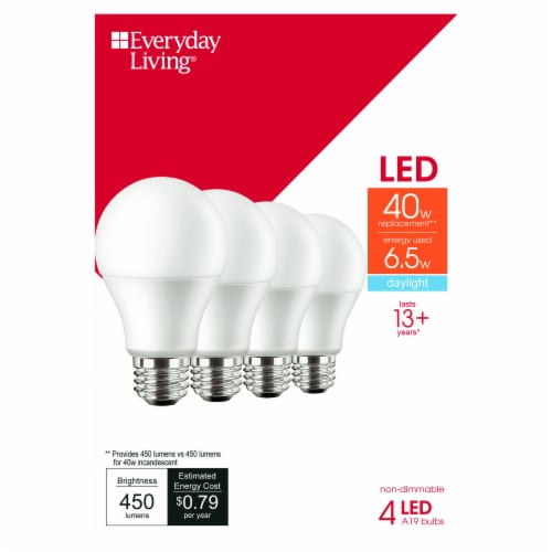 Everyday Living® 6.5-Watt (40-Watt) A19 LED Light Bulbs Perspective: front