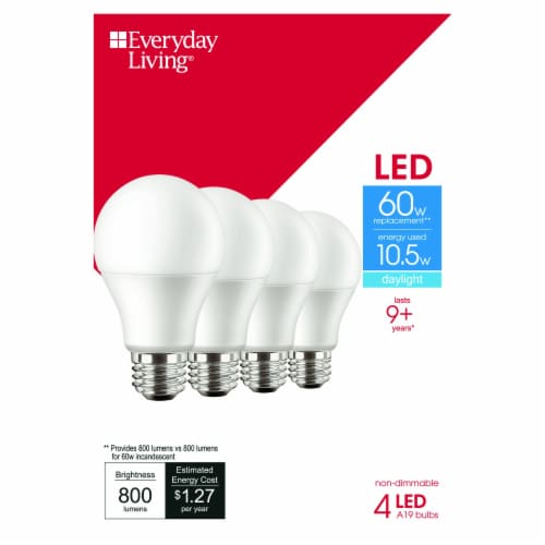 Everyday Living® 10.5-Watt (60-Watt) A19 LED Light Bulbs Perspective: front