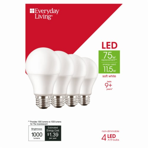 Everyday Living® 11.5-Watt (75-Watt) A19 LED Light Bulbs Perspective: front