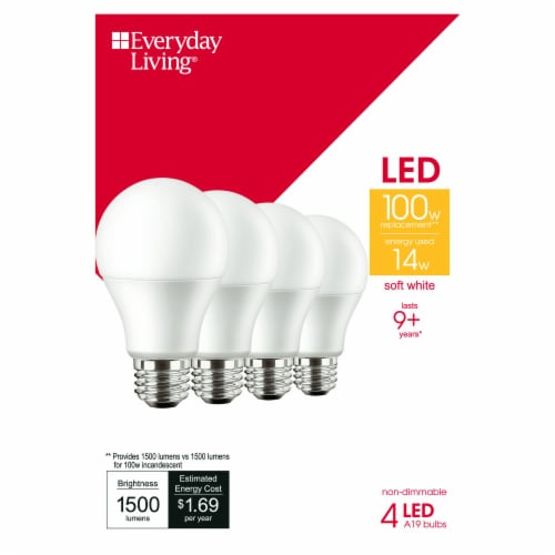 Everyday Living® 14-Watt (100-Watt) A19 LED Light Bulbs Perspective: front