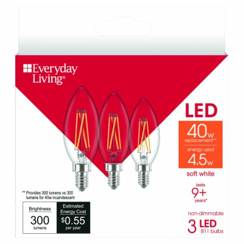 Everyday Living® 4.5-Watt (40-Watt) B11 LED Candelabra Light Bulbs Perspective: front