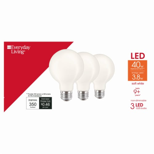Everyday Living® 3.8-Watt (40-Watt) G25 LED Light Bulbs Perspective: front