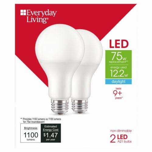 Everyday Living® 12.2-Watt (75-Watt) A21 LED Light Bulbs Perspective: front