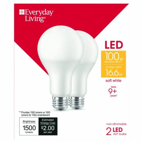 Everyday Living® 16.6-Watt(100-Watt) A21 LED Light Bulbs Perspective: front