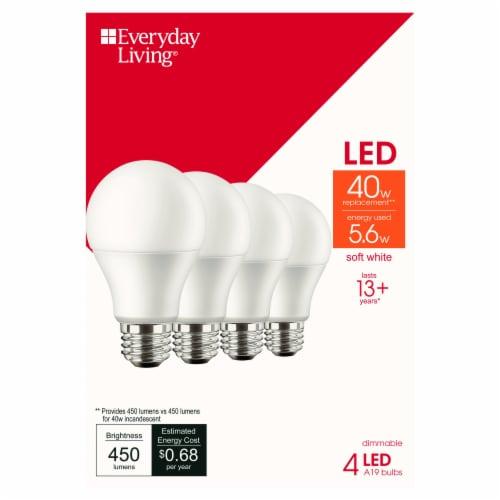 Everyday Living® 5.6-Watt (40-Watt) A19 LED Light Bulbs Perspective: front
