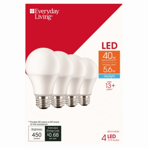 Everyday Living® 5.6-Watt (40-Watt) A19 LED Light Bulbs Perspective: front