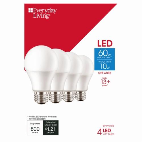 Everyday Living® 10-Watt (60-Watt) A19 LED Light Bulbs Perspective: front
