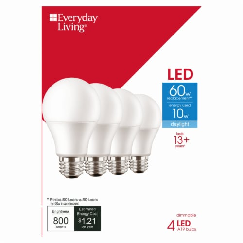 Everyday Living® 10-Watt (60-Watt) A19 LED Light Bulbs Perspective: front