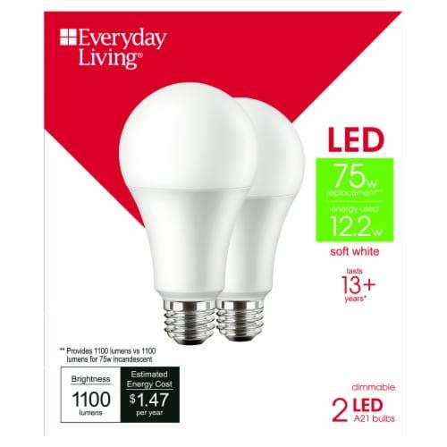 Everyday Living® 12.2-Watt (70-Watt) A21 LED Light Bulbs - Soft White Perspective: front