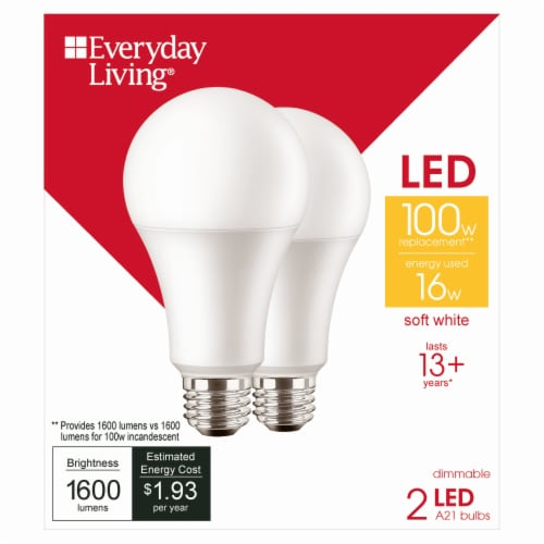 Everyday Living® 16-Watt (100-Watt) A21 Soft White LED Light Bulbs Perspective: front
