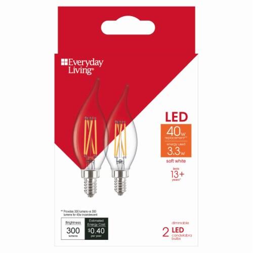 Everyday Living® 3.3-Watt (40-Watt) LED Candelabra Light Bulbs Perspective: front