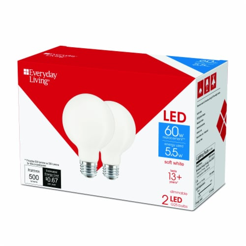 Everyday Living® 5.5 Watt (60-Watt) Soft White G25 LED Light Bulbs Perspective: front