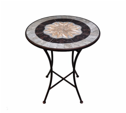 HD Designs Outdoors Tile & Metal Inlay Bistro Table - Tan/Gray Perspective: front