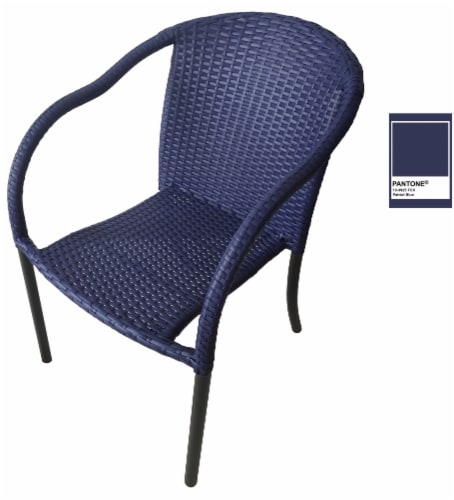 HD Designs Outdoors Wicker Chair - Blue Perspective: front