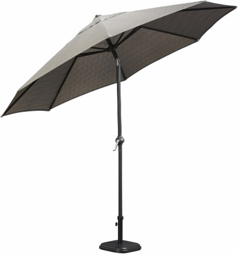 HD Designs Outdoors Ventura Fabric Umbrella - Gray Perspective: front