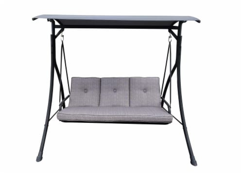 HD Designs Outdoors San Jose Three Seat Cushion Swing - Gray Perspective: front