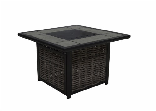 HD Designs Outdoors Cassara Tile Top Square Gas Firepit Table Perspective: front