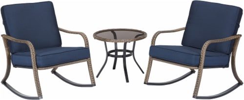 HD Designs Outdoors Kali Rocker Chair and Table Set - Blue/Tan Perspective: front