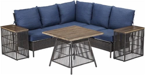 HD Designs Outdoors Laguna Wicker Sectional Set - Blue Perspective: front