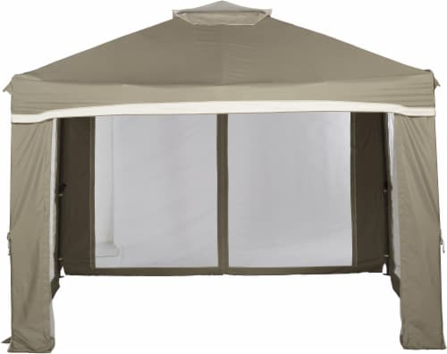 HD Designs Outdoors Pop Up Gazebo - Taupe Perspective: front