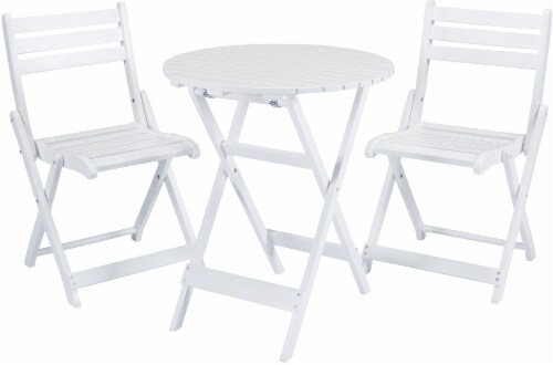 HD Designs Outdoors Avery Bistro Set - White Perspective: front